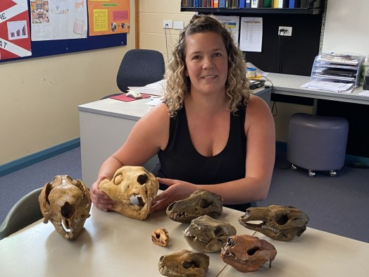 Alice with marsupial skulls